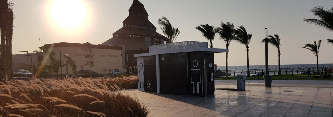 Jeddah self cleaning toilets during sunset
